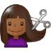 💇🏾 person getting haircut: medium-dark skin tone Emoji on Samsung Platform