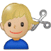 💇🏼♂️ Medium Light Skin Tone Man Getting Haircut Emoji on Samsung Platform
