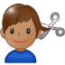 💇🏽♂️ man getting haircut: medium skin tone Emoji on Samsung Platform