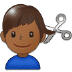 💇🏾‍♂️ man getting haircut: medium-dark skin tone Emoji on Samsung Platform