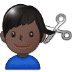 💇🏿‍♂️ man getting haircut: dark skin tone Emoji on Samsung Platform