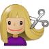💇🏼♀️ woman getting haircut: medium-light skin tone Emoji on Samsung Platform