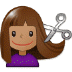 💇🏽‍♀️ woman getting haircut: medium skin tone Emoji on Samsung Platform