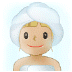 🧖🏼‍♀️ woman in steamy room: medium-light skin tone Emoji on Samsung Platform