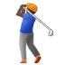 🏌🏿♂️ man golfing: dark skin tone Emoji on Samsung Platform