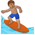 🏄🏽 person surfing: medium skin tone Emoji on Samsung Platform