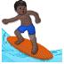 🏄🏿 person surfing: dark skin tone Emoji on Samsung Platform