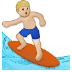 🏄🏼‍♂️ man surfing: medium-light skin tone Emoji on Samsung Platform