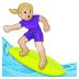 🏄🏼♀️ woman surfing: medium-light skin tone Emoji on Samsung Platform