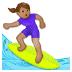 🏄🏽♀️ woman surfing: medium skin tone Emoji on Samsung Platform