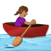 🚣🏽‍♀️ woman rowing boat: medium skin tone Emoji on Samsung Platform