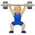 🏋🏼♂️ man lifting weights: medium-light skin tone Emoji on Samsung Platform