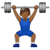 🏋🏾‍♂️ man lifting weights: medium-dark skin tone Emoji on Samsung Platform