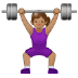 🏋🏽‍♀️ woman lifting weights: medium skin tone Emoji on Samsung Platform