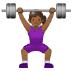🏋🏾♀️ woman lifting weights: medium-dark skin tone Emoji on Samsung Platform