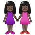 👭🏿 women holding hands: dark skin tone Emoji on Samsung Platform