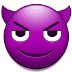 😈 وجه مبتسم بقرنين الإيموجي على منصة سامسونج