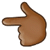 👈🏾 backhand index pointing left: medium-dark skin tone Emoji on Samsung Platform