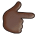 👉🏿 backhand index pointing right: dark skin tone Emoji on Samsung Platform