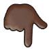 👇🏿 backhand index pointing down: dark skin tone Emoji on Samsung Platform