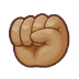 ✊🏽 raised fist: medium skin tone Emoji on Samsung Platform