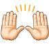 🙌🏻 raising hands: light skin tone Emoji on Samsung Platform