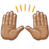 🙌🏽 raising hands: medium skin tone Emoji on Samsung Platform