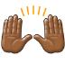 🙌🏾 raising hands: medium-dark skin tone Emoji on Samsung Platform