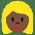 👱🏿♀️ woman: dark skin tone, blond hair Emoji on Twitter Platform