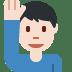 🙋🏻♂️ man raising hand: light skin tone Emoji on Twitter Platform