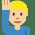 🙋🏼♂️ man raising hand: medium-light skin tone Emoji on Twitter Platform