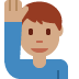 🙋🏽‍♂️ man raising hand: medium skin tone Emoji on Twitter Platform