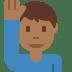 🙋🏾♂️ man raising hand: medium-dark skin tone Emoji on Twitter Platform