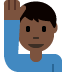 🙋🏿♂️ Dark Skin Tone Man Raising Hand Emoji on Twitter Platform
