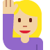 🙋🏼‍♀️ woman raising hand: medium-light skin tone Emoji on Twitter Platform