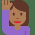 🙋🏾♀️ woman raising hand: medium-dark skin tone Emoji on Twitter Platform