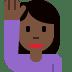 🙋🏿♀️ woman raising hand: dark skin tone Emoji on Twitter Platform