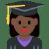 👩🏿🎓 woman student: dark skin tone Emoji on Twitter Platform