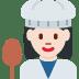 👩🏻🍳 woman cook: light skin tone Emoji on Twitter Platform