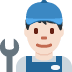 👨🏻🔧 man mechanic: light skin tone Emoji on Twitter Platform