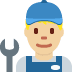 👨🏼‍🔧 man mechanic: medium-light skin tone Emoji on Twitter Platform