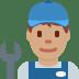👨🏽🔧 man mechanic: medium skin tone Emoji on Twitter Platform