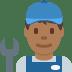 👨🏾🔧 man mechanic: medium-dark skin tone Emoji on Twitter Platform