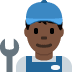 👨🏿‍🔧 man mechanic: dark skin tone Emoji on Twitter Platform
