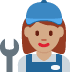 👩🏽‍🔧 woman mechanic: medium skin tone Emoji on Twitter Platform