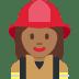 👩🏾🚒 woman firefighter: medium-dark skin tone Emoji on Twitter Platform