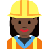 👷🏿‍♀️ woman construction worker: dark skin tone Emoji on Twitter Platform