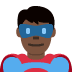 🦸🏿‍♂️ man superhero: dark skin tone Emoji on Twitter Platform