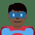 🦸🏿♂️ man superhero: dark skin tone Emoji on Twitter Platform