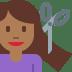 💇🏾 person getting haircut: medium-dark skin tone Emoji on Twitter Platform